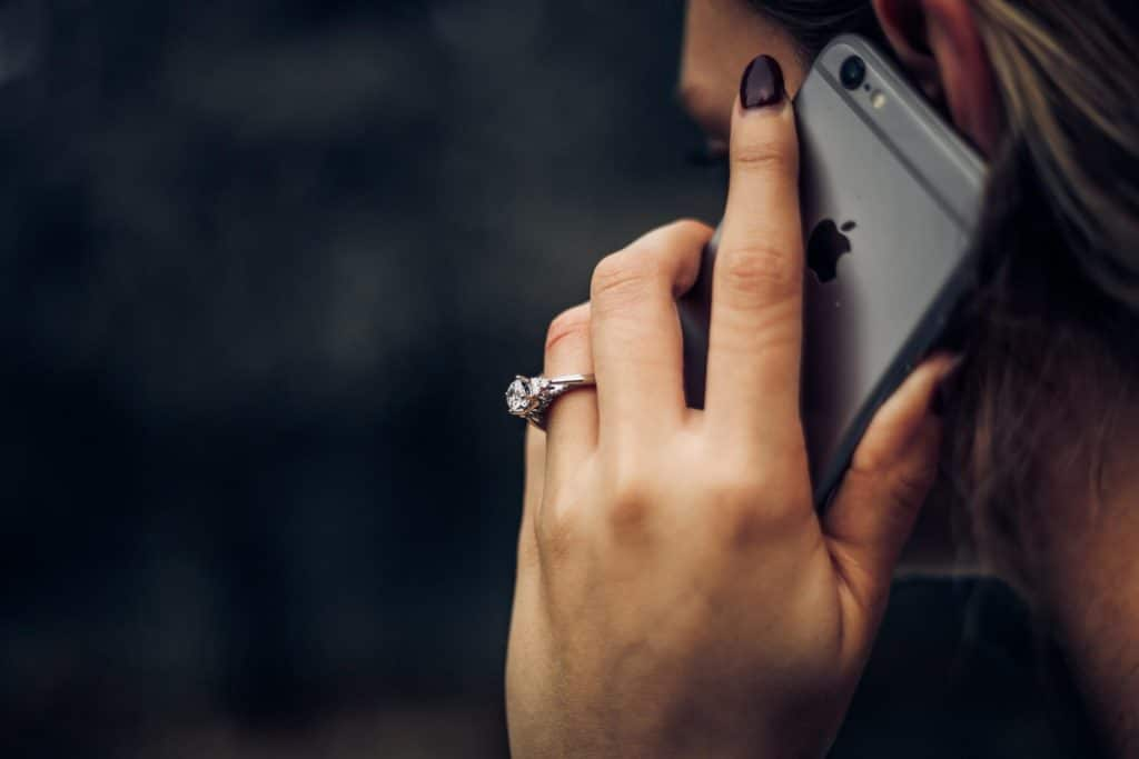 closeup of woman on cell phone